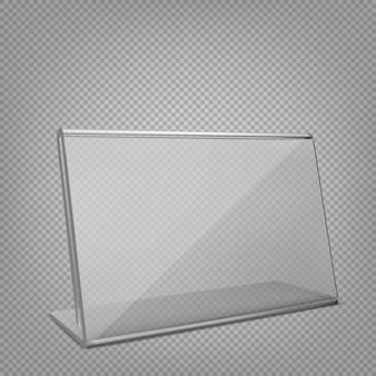 디스플레이 스탠드 또는 아크릴 테이블 텐트. 투명 한 배경에 고립.
