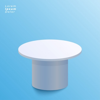 Display table design on blue background
