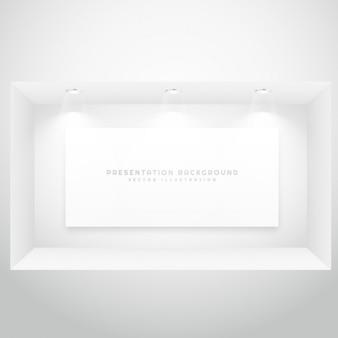 프리젠 테이션 액자가있는 디스플레이 창