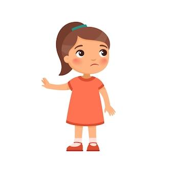 不機嫌な少女は拒否ジェスチャーのイラストを示しています