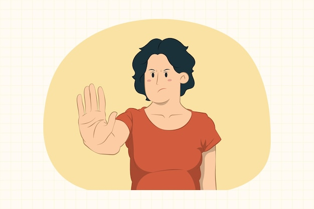 Displeased young woman showing stop gesture with palm concept