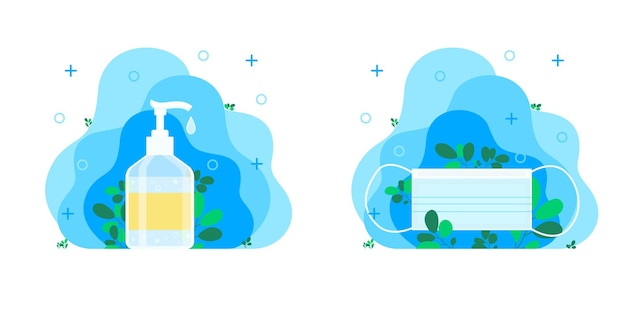 일회용 파란색 의료 마스크, 약, 보호 개념. 손 소독제, 소독제, 손 비누, 손을 위한 박테리아 및 세균 치료, 손 탈지제가 있는 절연 병. 벡터 일러스트 레이 션