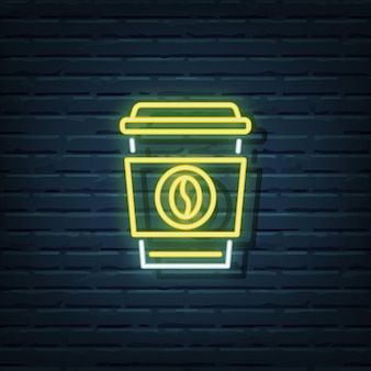 Disposable coffee neon sign elements
