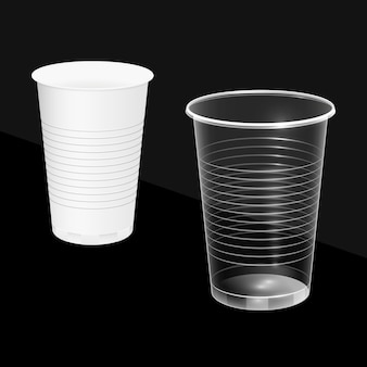 Disposable cups, white and transparent.