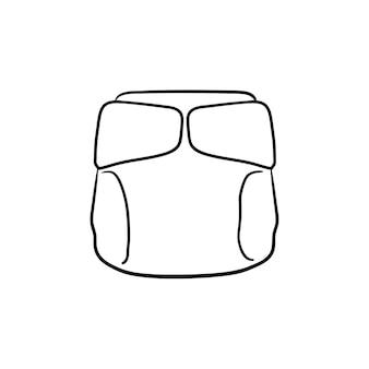使い捨ておむつ手描きのアウトライン落書きアイコン。ベビーケアの概念と白い背景で隔離の印刷物、ウェブ、モバイル、インフォグラフィックの新生児衛生ベクトルスケッチイラスト。