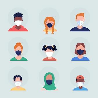 使い捨て医療用マスクセミフラットカラーベクトル文字アバターセット。正面から見た呼吸器付きの肖像画。グラフィックデザインとアニメーションパックの分離されたモダンな漫画スタイルのイラスト