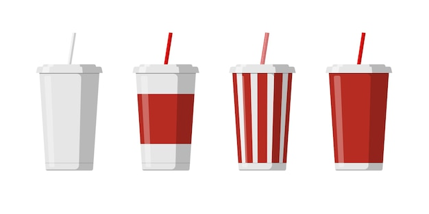 Disposable paper beverage cup template set for soda with drinking straw blank white big red striped