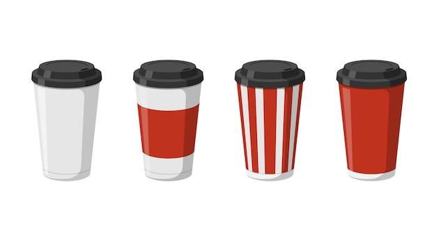 コーヒーモカラテまたは黒いふた付きカプチーノ用の使い捨て紙飲料カップテンプレートセットd