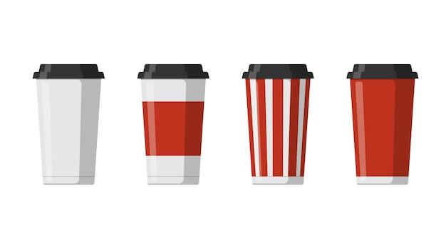 黒いふたが付いているコーヒーモカラテまたはカプチーノのために設定された使い捨ての紙飲料カップテンプレート