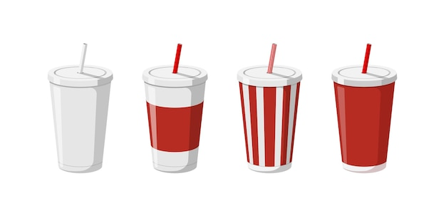 Disposable paper beverage cup templates set for soda with drinking straw d blank white big red