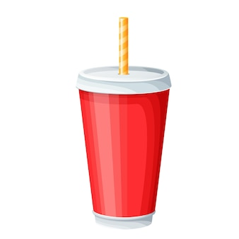 Disposable paper beverage cup with drinking straw