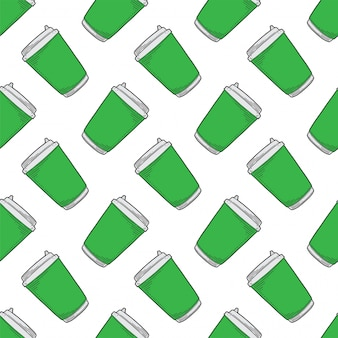 Disposable paper cup seamless pattern in doodle and sketch style.