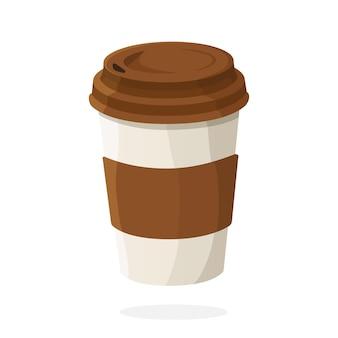 커피 또는 차 벡터 일러스트와 함께 일회용 종이 컵