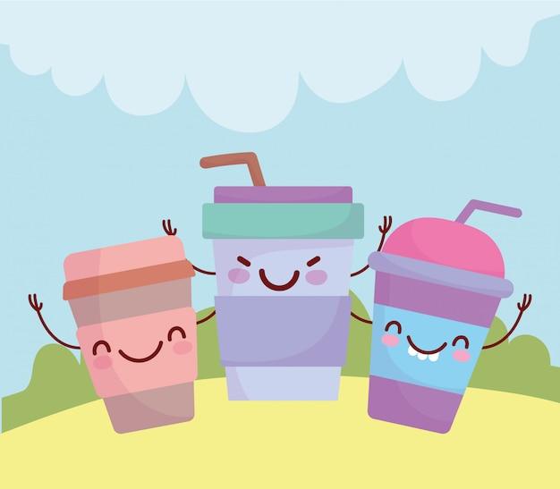 Одноразовые бумажные стаканчики кофейное меню персонаж мультфильма еда милая