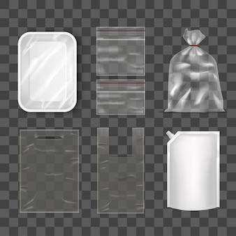 Disposable plastic bag package set on transparent background foil bag packaging with lid doy, plastic food container and pocket. empty design mock up vector illustration