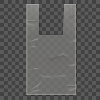 Disposable plastic bag package with handles on transparent background