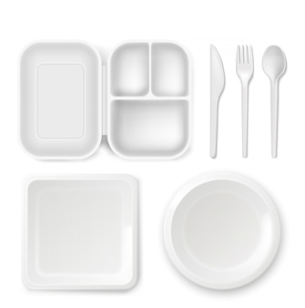 Disposable plastic dishware plates and cutlery