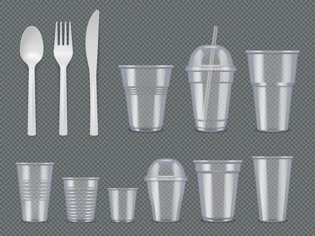 使い捨て器具。プラスチック製食器ナイフフォークスプーンガラスカップベクトル現実的なテンプレート。食器のスプーンとフォーク、カップと道具のイラスト