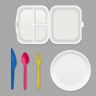 Одноразовая белая пластиковая тарелка, коробка для завтрака и красочные столовые приборы, вид сверху, реалистичная посуда, набор прозрачный.