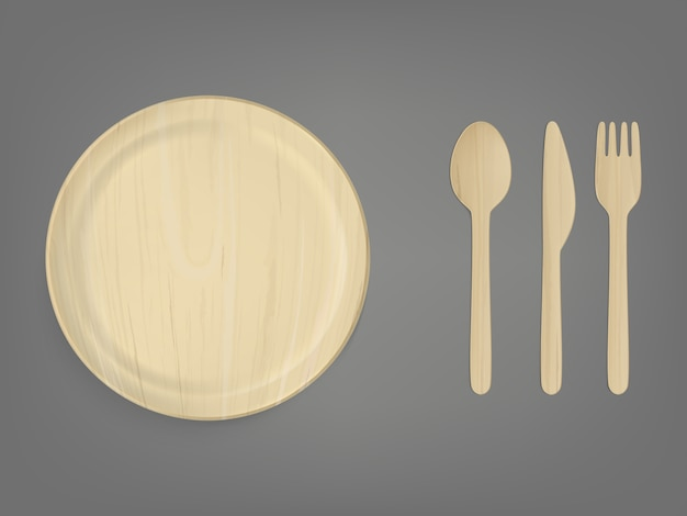 Disposable wooden tableware realistic vector set