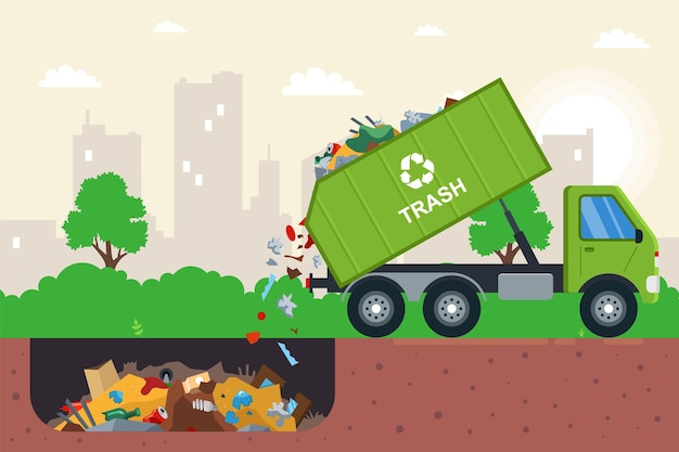 Вывоз мусора в мусорную яму. плоская иллюстрация.
