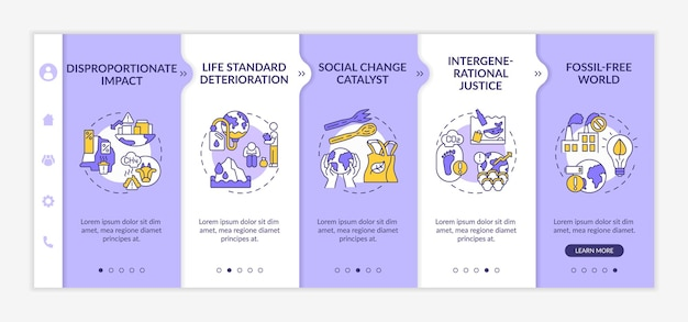 Disproportionate impact onboarding  template. responsive mobile website with icons. fossil-free world. webpage walkthrough 5 step screens. climate change and justice.