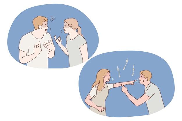 Спор, конфликт, стресс, ссора, оскорбления, непонимание концепции. недовольная молодая пара конфликтует во время разговора, ссорится и спорит агрессивными жестами между собой
