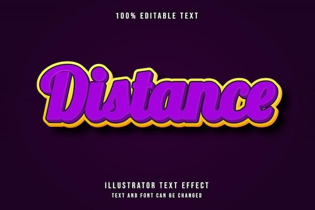 Distance, editable text effect purple yellow modern style