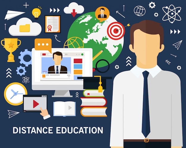 Distance education concept background