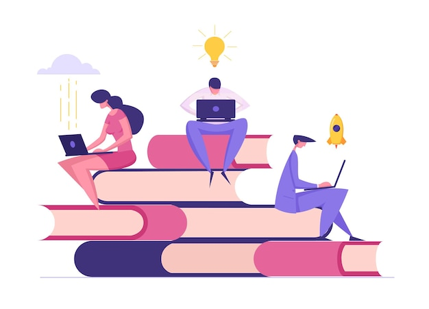 Distance education concept banner with people working on laptop illustration