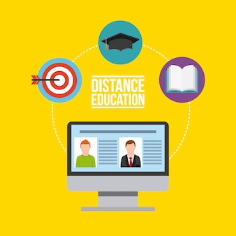 Distance education flat icons