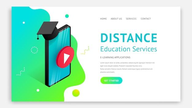遠隔教育ランディングページデザインコンセプト。オンライン学習、ウェビナー、eラーニング、ビジネストレーニングのwebサイトテンプレート。等尺性のスマートフォン、流体の背景イラストを卒業の帽子