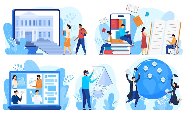Distance education and online learning concept,   illustration