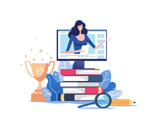 원격 교육 또는 비즈니스 교육. 웹 세미나 또는 비디오 세미나 학습 벡터 개념.