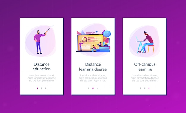 Distance learning app interface template.