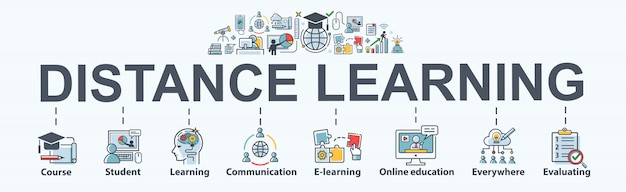 Distance learning banner for self development, course, teacher, study, e-learning, training, skill, online education, continuing education and knowledge. minimal vector infographic.