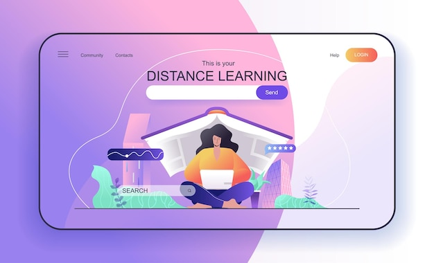 Distance learning concept for landing page woman student studying at laptop online education