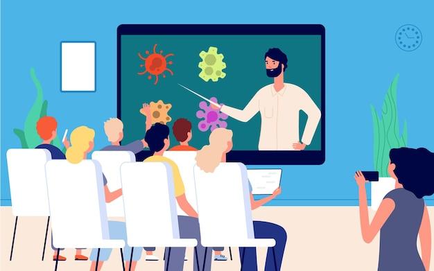 通信教育。オンライン講義の学生のグループ。ライブレッスンを行う先生。疫学、ウイルス