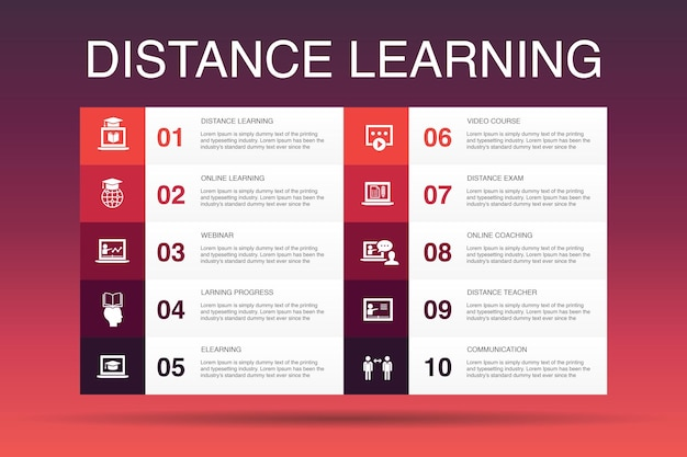 Distance learning infographic 10 option template. online education, webinar, learning process, video course simple icons