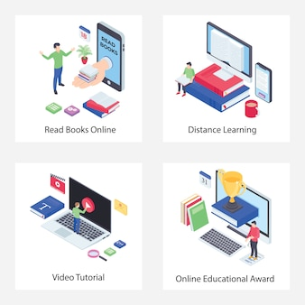 Distance learning isometric icons pack