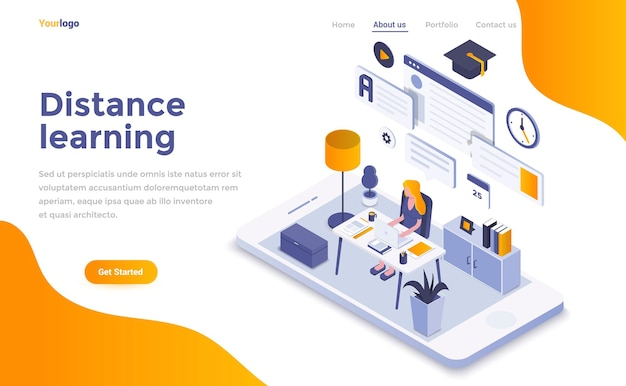 Distance learning isometric landing page