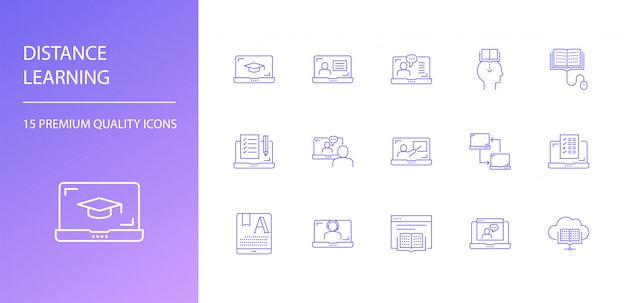 Distance learning line icon set
