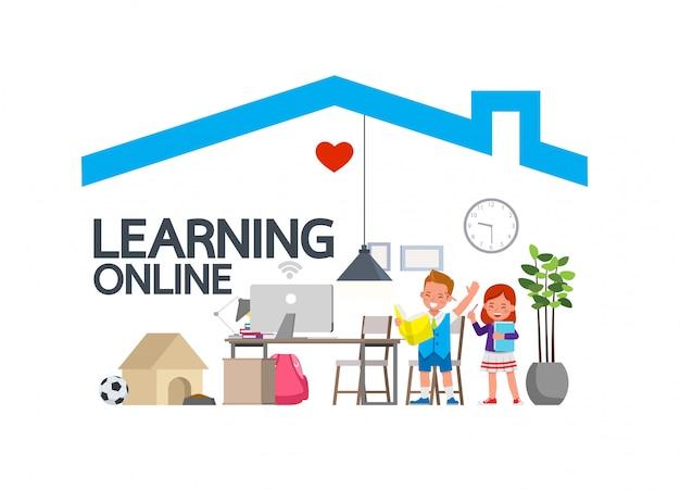 코로나 바이러스 중 어린이를위한 원격 교육 온라인 교육 수업. 사회적 소란, 자기 격리 및 집 개념 유지. 아이 문자 벡터 디자인.