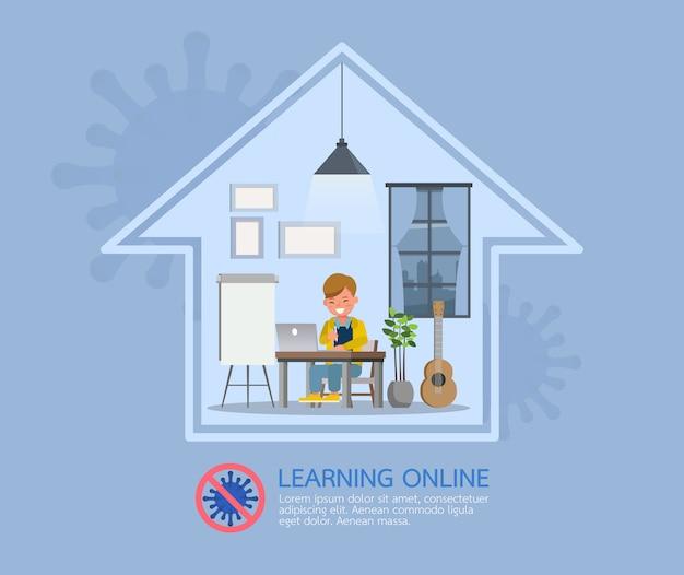 코로나 바이러스 중 어린이를위한 원격 교육 온라인 교육 수업. 사회적 소란, 자기 격리 및 집 개념 유지.
