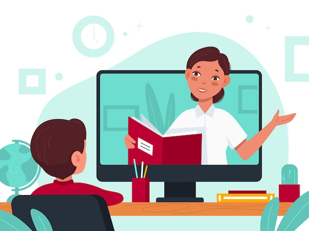 Distance learning. online education video lesson during covid quarantine, student at desk and teacher on screen distant study and e-learning, watching webinar or tutorial from home vector flat concept