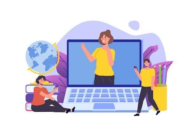 遠隔教育オンライン教育ビデオチュートリアルの概念ベクトル図