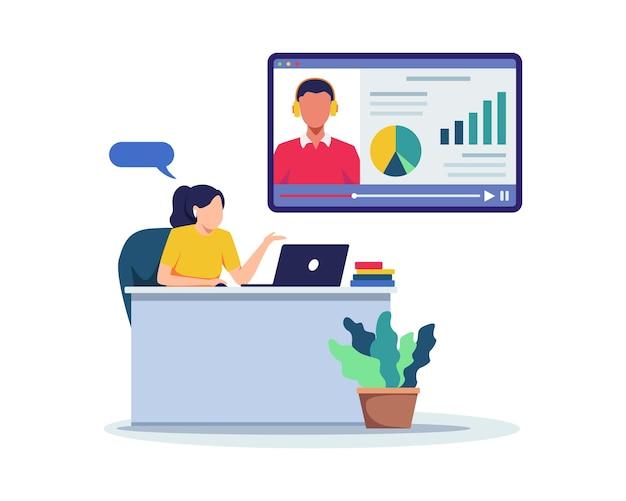 Дистанционное обучение или онлайн-тест. плоский стиль