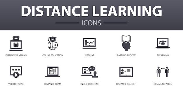 遠隔教育のシンプルなコンセプトアイコンを設定します。オンライン教育、ウェビナー、学習プロセス、ビデオコースなどのアイコンが含まれており、web、ロゴ、ui / uxに使用できます。