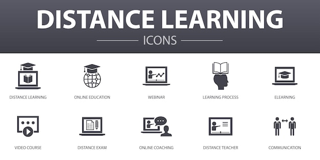 Distance learning simple concept icons set. contains such icons as online education, webinar, learning process, video course and more, can be used for web, logo, ui/ux