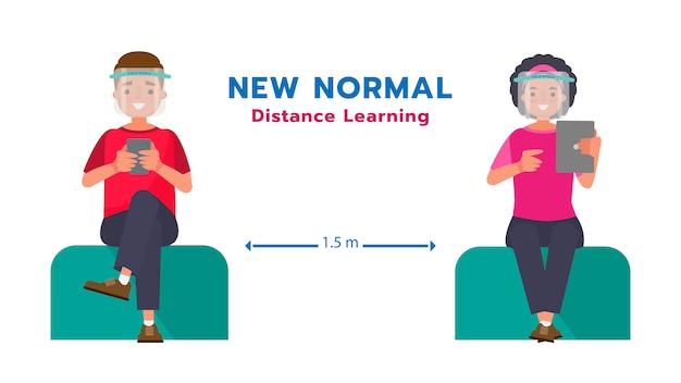 Расстояние студентов дистанционного обучения от общества и носить защитную маску. мультфильм характер иллюстрации.